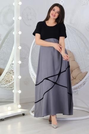 Летнее платье с длинной юбкой черного с серым цвета 712|интернет-магазин vvlen.com