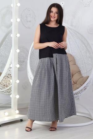 Летнее платье с пышной юбкой черного с белым цвета 710|интернет-магазин vvlen.com