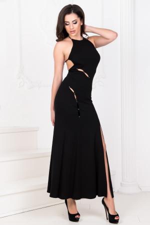 Вечернее платье с открытой спиной черного цвета|интернет-магазин vvlen.com