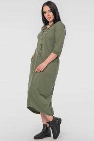 Повседневное платье  мешок хаки цвета 2539-3.101 интернет-магазин vvlen.com