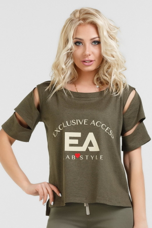 Женская футболка хаки цвета 024|интернет-магазин vvlen.com