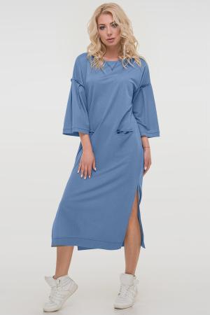 Летнее платье  мешок серо-голубого цвета|интернет-магазин vvlen.com