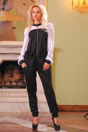 Женский комбинезон брючный черного с белым цвета|интернет-магазин vvlen.com