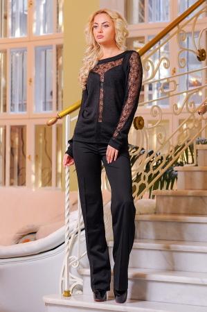 Блуза черного цвета  2396.12|интернет-магазин vvlen.com