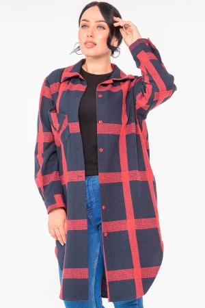 Женская рубашка оверсайз темно-синего цвета 2968.140|интернет-магазин vvlen.com