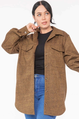 Женская рубашка оверсайз горчичного цвета 2969.138|интернет-магазин vvlen.com