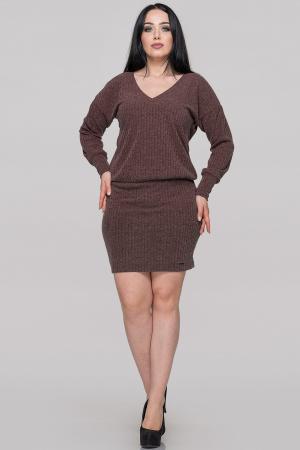Повседневное платье с открытой спиной коричневого цвета|интернет-магазин vvlen.com