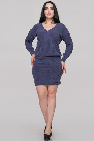 Повседневное платье с открытой спиной синего цвета|интернет-магазин vvlen.com