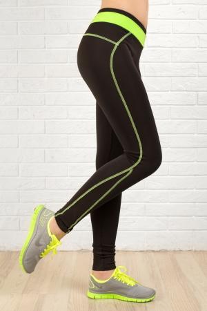 Лосины для фитнеса черного с зеленым цвета|интернет-магазин vvlen.com