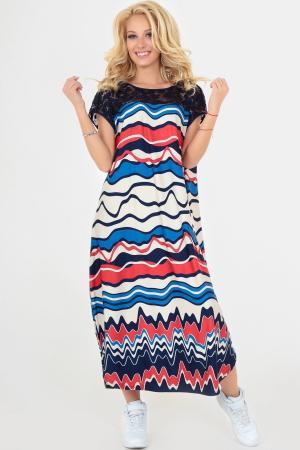 Летнее платье оверсайз синего с красным цвета 2481-1.6|интернет-магазин vvlen.com