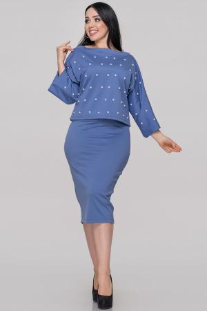 Женский костюм с юбкой джинса цвета 502.47|интернет-магазин vvlen.com