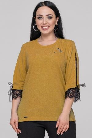Блуза  горчичного цвета 2895-1.99|интернет-магазин vvlen.com