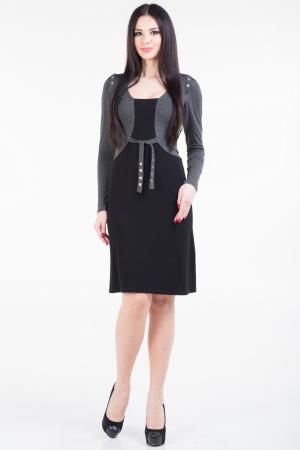 Повседневное платье футляр черного с серым цвета|интернет-магазин vvlen.com