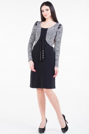 Повседневное платье футляр черного с белым цвета|интернет-магазин vvlen.com