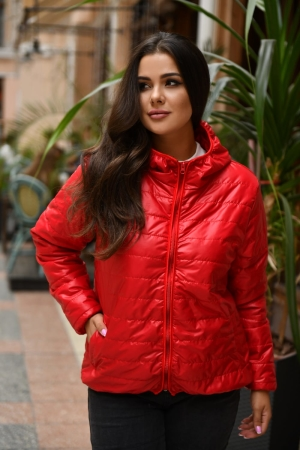 Куртка женская красного цвета 455|интернет-магазин vvlen.com