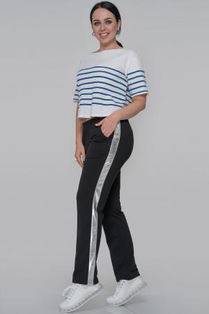 Спортивные брюки черного с серебром цвета|интернет-магазин vvlen.com