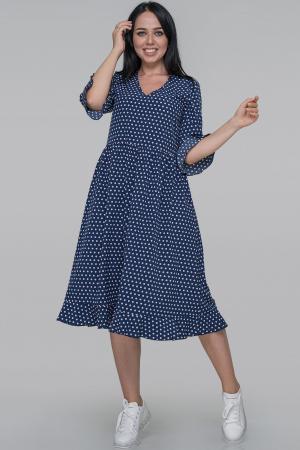 Повседневное платье с длинной юбкой синего в горох цвета|интернет-магазин vvlen.com