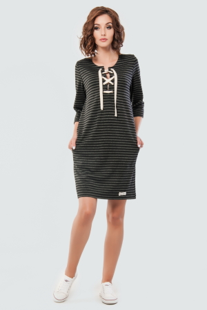 Спортивное платье  серого с черным цвета 2615.40 интернет-магазин vvlen.com