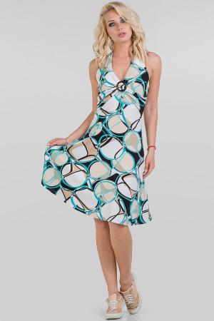 Летнее платье с открытой спиной белый с бежевым цвета 447.17|интернет-магазин vvlen.com