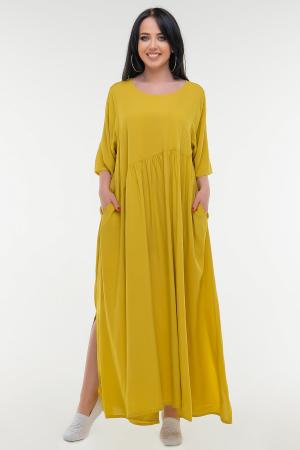 Летнее платье балахон горчичного цвета|интернет-магазин vvlen.com