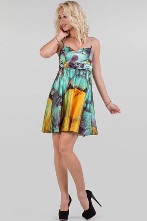 Коктейльное платье с расклешённой юбкой зеленого тона цвета 1139.8|интернет-магазин vvlen.com