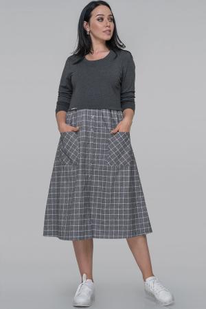 Платье  мешок серого цвета 2935.133|интернет-магазин vvlen.com