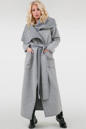 Пальто на запах серого цвета 2747.109|интернет-магазин vvlen.com