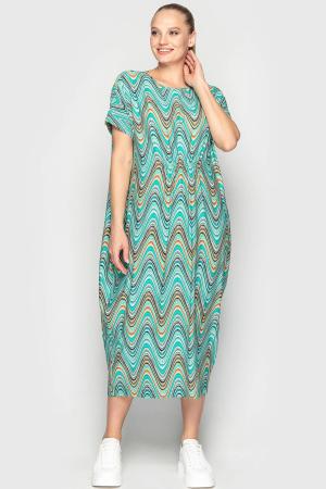 Летнее платье оверсайз бирюзового цвета 2801-1.17|интернет-магазин vvlen.com