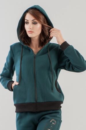 Спортивная кофта темно-зеленого цвета 158|интернет-магазин vvlen.com