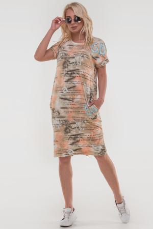 Летнее платье  мешок оранжевого с коричневым цвета|интернет-магазин vvlen.com