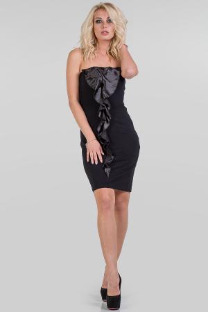 Коктейльное платье с открытыми плечами черного цвета 1141.2|интернет-магазин vvlen.com
