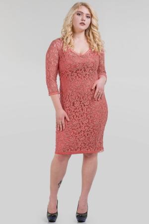 Платье футляр кораллового цвета |интернет-магазин vvlen.com
