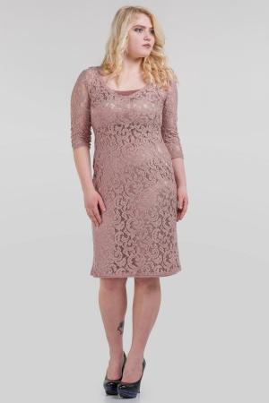 Платье футляр фрезового цвета |интернет-магазин vvlen.com