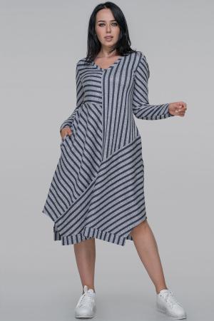 Платье трапеция серого с синим цвета 2909-1.103|интернет-магазин vvlen.com