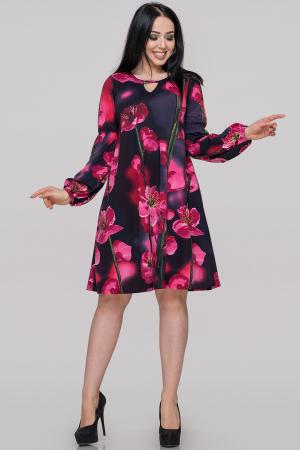 Коктейльное платье трапеция малинового принта цвета|интернет-магазин vvlen.com