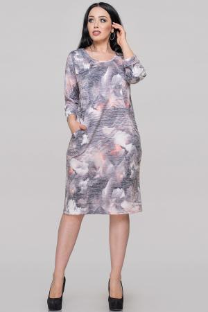 Платье футляр серого с оранжевым цвета |интернет-магазин vvlen.com