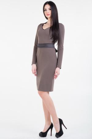 Повседневное платье футляр бежевого цвета|интернет-магазин vvlen.com