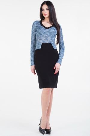 Повседневное платье футляр черного с голубым цвета|интернет-магазин vvlen.com