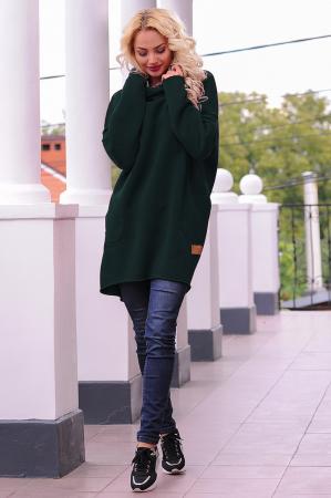 Худи оверсайз темно-зеленого цвета с капюшоном 2349.70|интернет-магазин vvlen.com