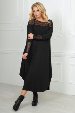 Платье оверсайз черного цвета 2481.17|интернет-магазин vvlen.com