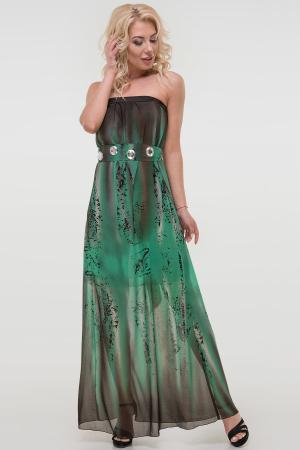 Летнее платье с открытыми плечами зеленого тона цвета 880.7|интернет-магазин vvlen.com
