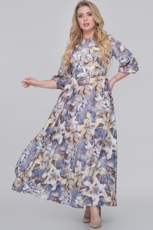 Вечернее платье с длинной юбкой серый с желтым цвета|интернет-магазин vvlen.com