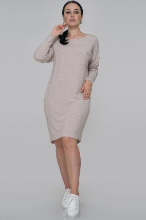 Повседневное платье  мешок бежевого цвета|интернет-магазин vvlen.com