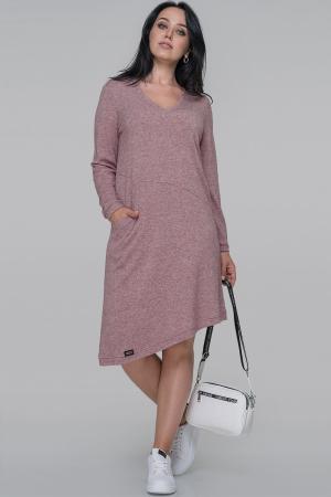 Повседневное платье трапеция фрезового цвета|интернет-магазин vvlen.com