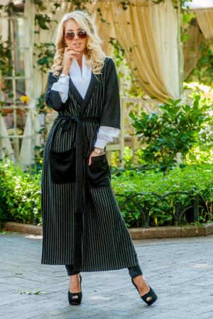 Кардиган с поясом черного цвета|интернет-магазин vvlen.com