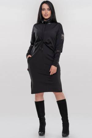 Повседневное платье  мешок черного цвета 2873.74|интернет-магазин vvlen.com