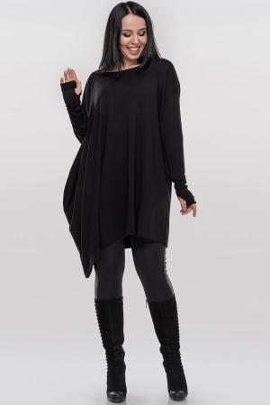 Туника асимметричная черного цвета |интернет-магазин vvlen.com