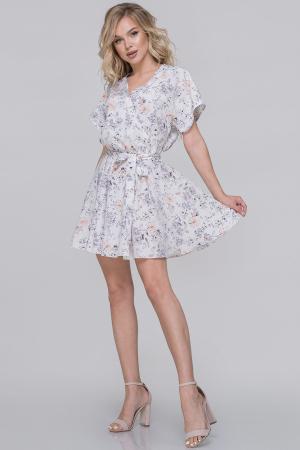 Летнее платье с расклешённой юбкой белый с серым цвета|интернет-магазин vvlen.com