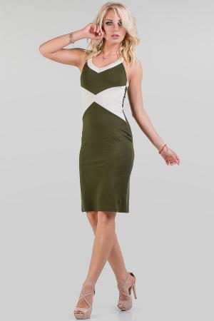 Летнее платье футляр хаки цвета 1111.2|интернет-магазин vvlen.com