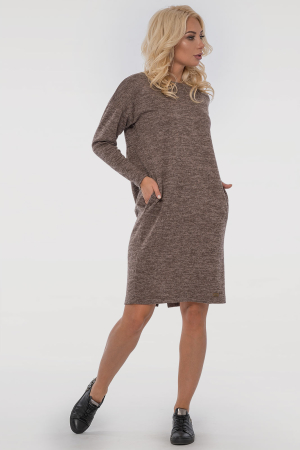 Повседневное платье  мешок капучино цвета 2794-4.96|интернет-магазин vvlen.com